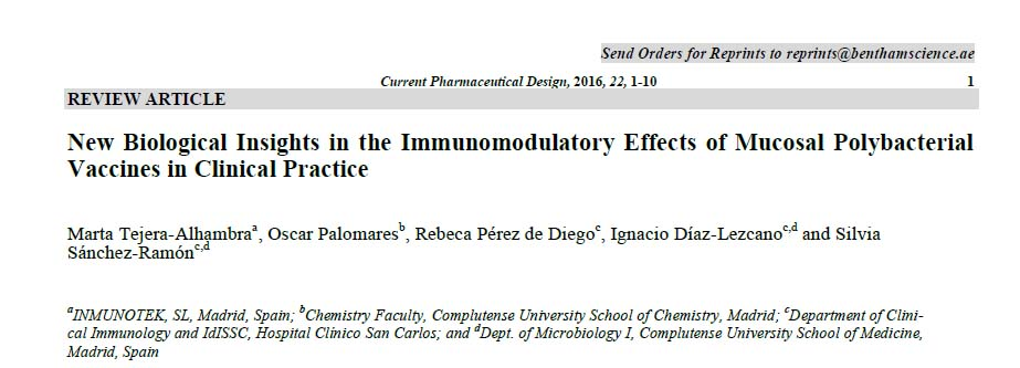 11/2016. Inmunomodulacion bacteriana