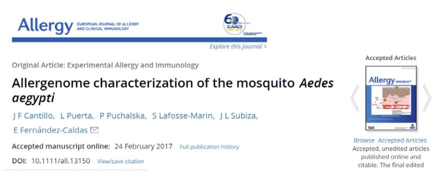 03/2017. Mosquito Aedes aegypti